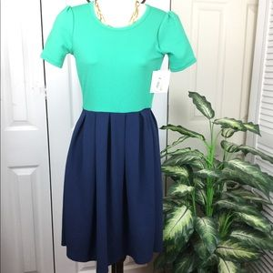 LULAROE NEW NAVY BLUE GREEN AMELIA FIT FLARE DRESS